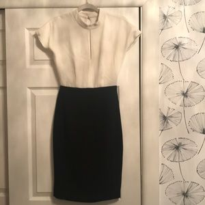 Reiss Black and White Cap Sleeve Dress